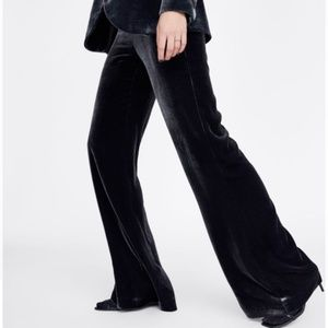Zara Pants - Zara Viscose Silk High Waist Velvet Pants